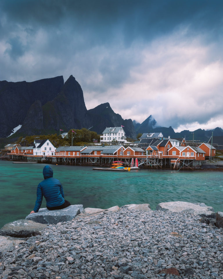 Nordic fishing houses by sea in Lofoten Islands