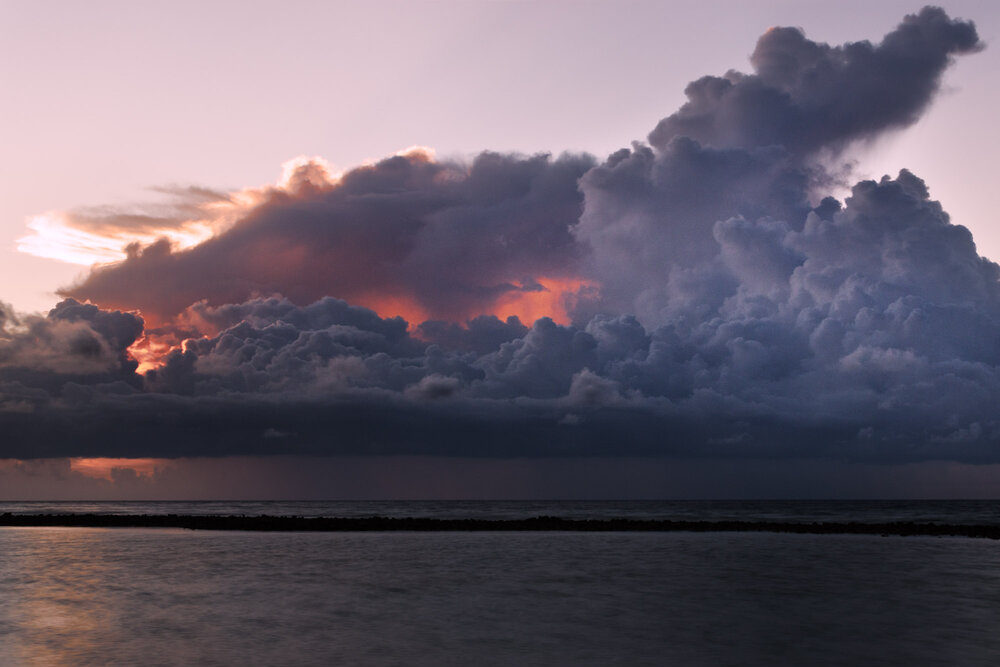 Landscape view of Maldives sea during a storm