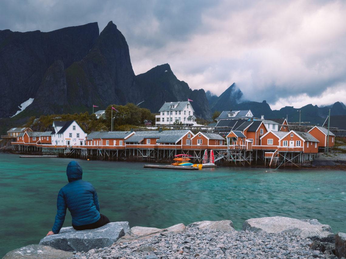 Fishing houses by sea in Lofoten Islands