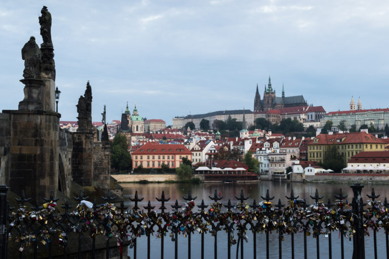 Love Locks and Prague Castle view from Charles Bridge