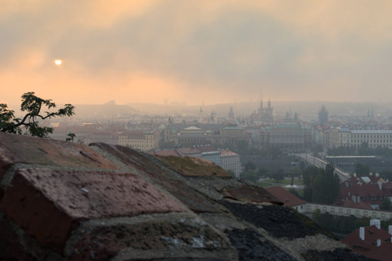 Stunning view of Prague Old City during sunrise from Prague Castle