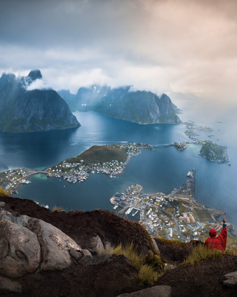 A beautiful landscape view of Reine village and mountain range from top of Reinebringen mountain