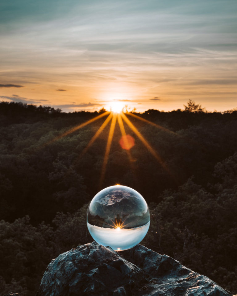 A Glass Ball during sunset
