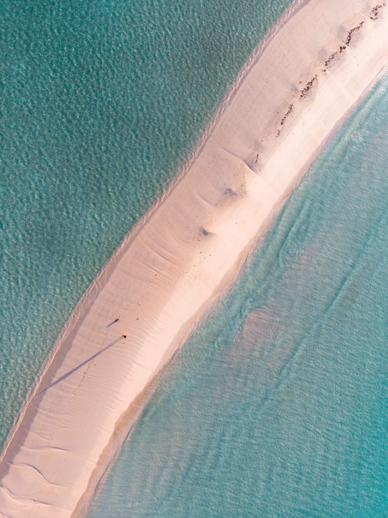 Aerial photography of long beach in Maldives