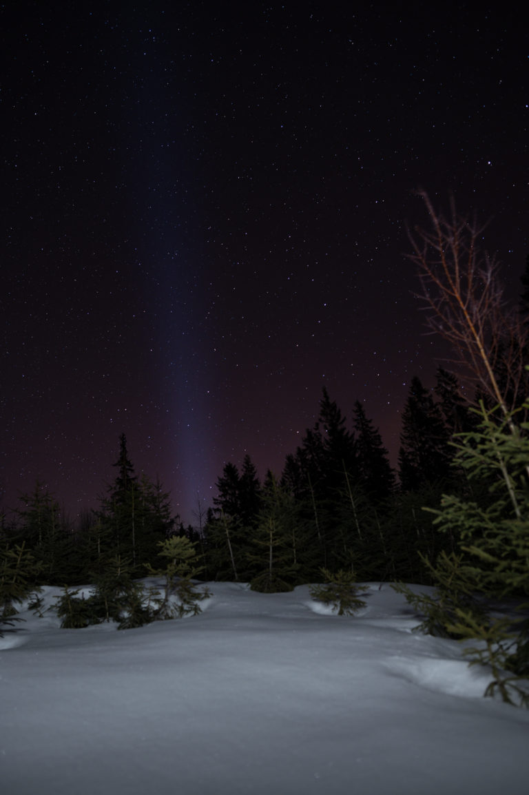 Night sky and pollution light view in the Krkonoše Mountains