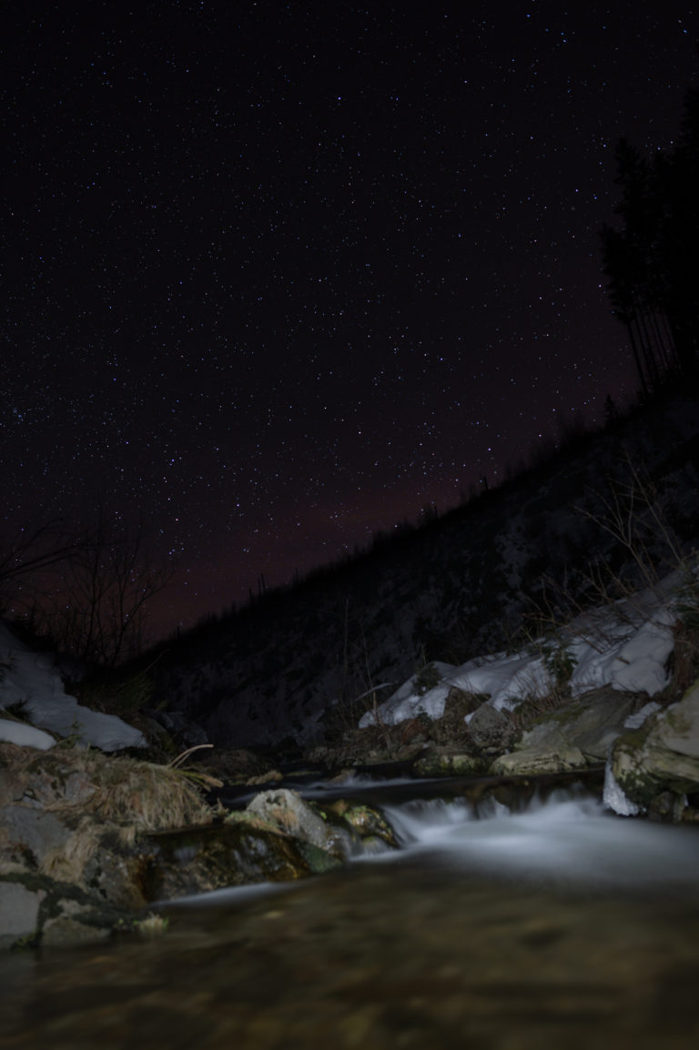 Night Sky and Stars view in the Krkonoše Mountains