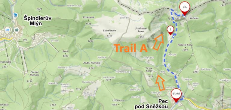 Map of trail A from Pec pod Sněžkou to Sněžka