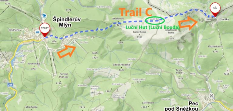 Map of trail C from Pec pod Sněžkou to Sněžka