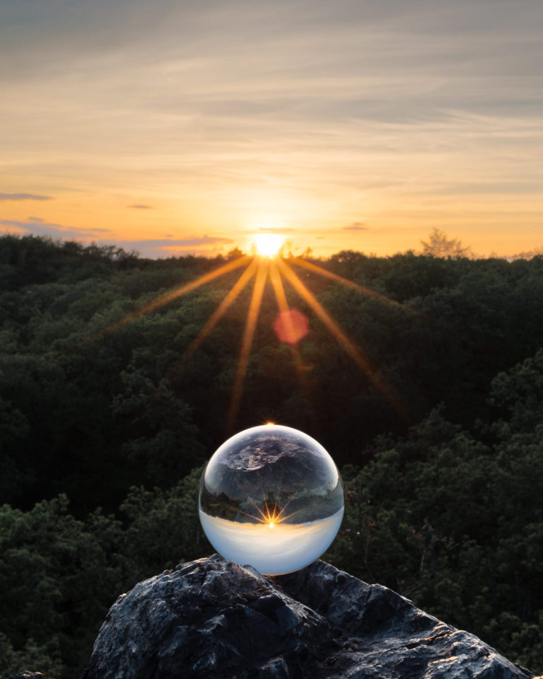 A Crystal Ball during sunset in Divoká Šárka