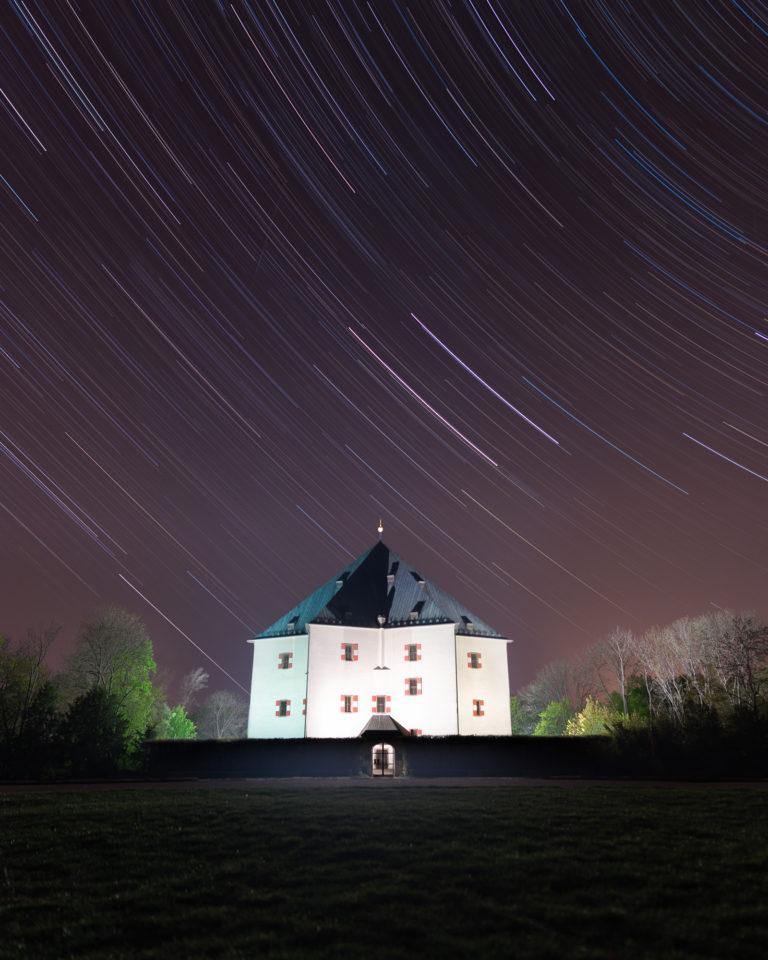 Star Trails View in Obora Hvezda in Prague