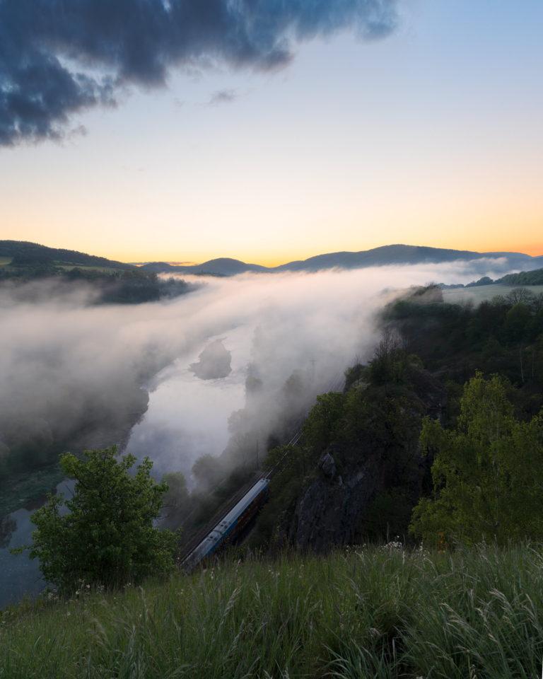 Foggy morning sunrise in Tetin