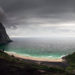 Moody Kvalvika beach - panoramic view in Lofoten - Norway