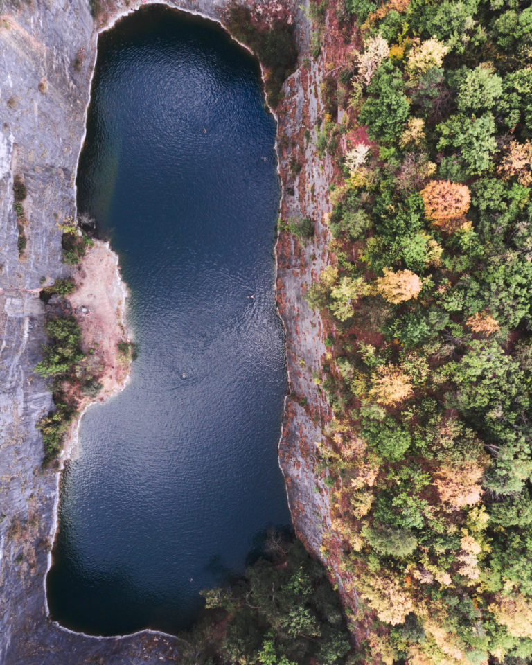 Drone shot of Mala Amerika quarry - aerial photography