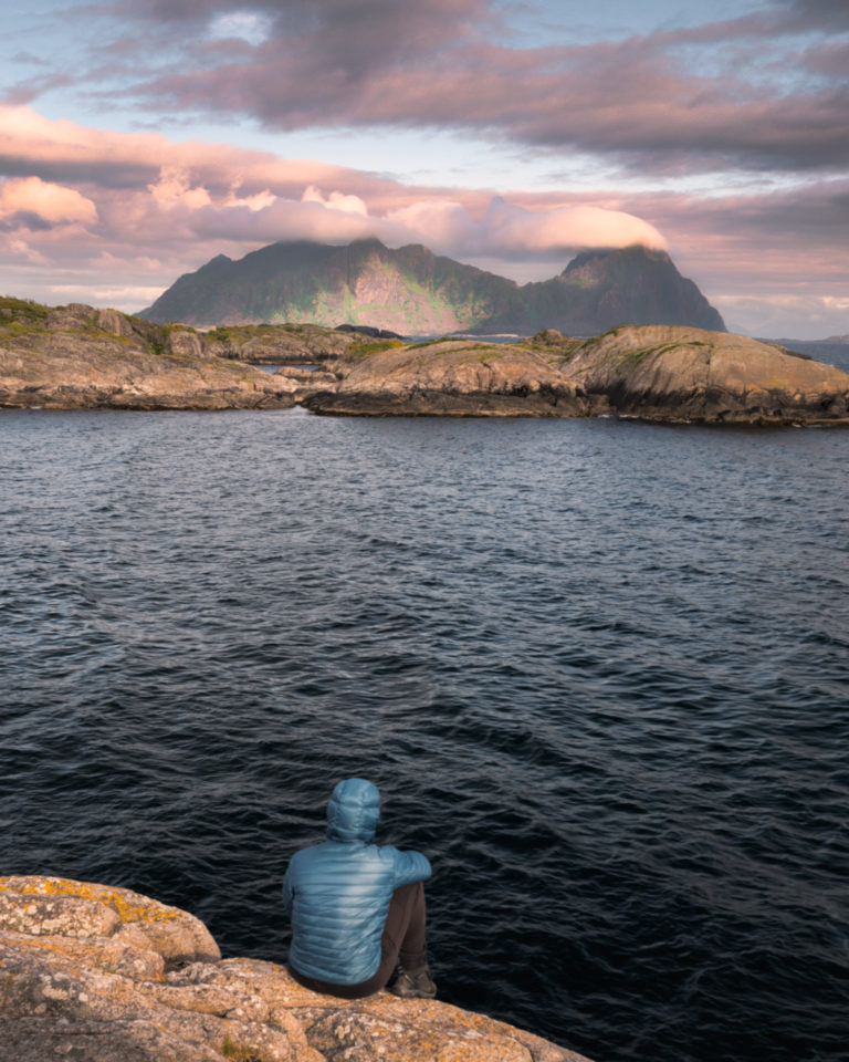 Sunrise view with pinky clouds in Lofoten - Norway
