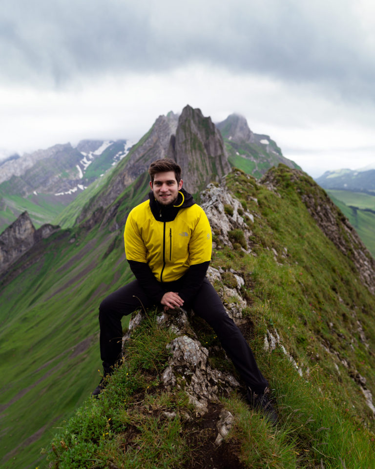 Top of Schafler mountain in Alpstein, Switzerland