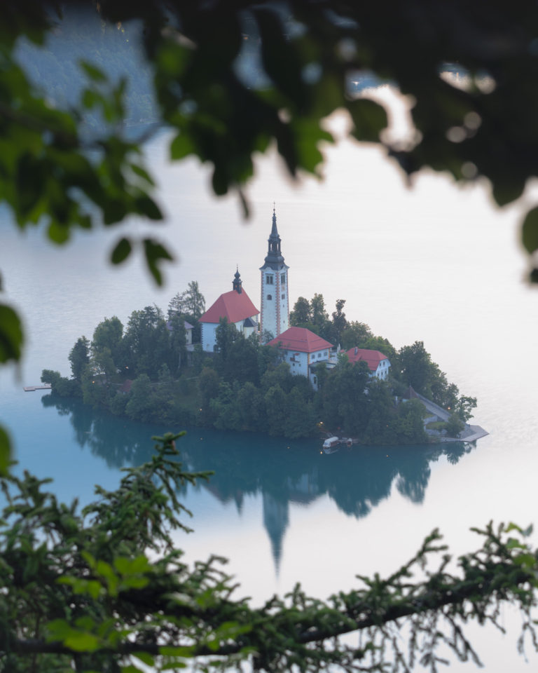 Bled island at sunrise in Slovenia