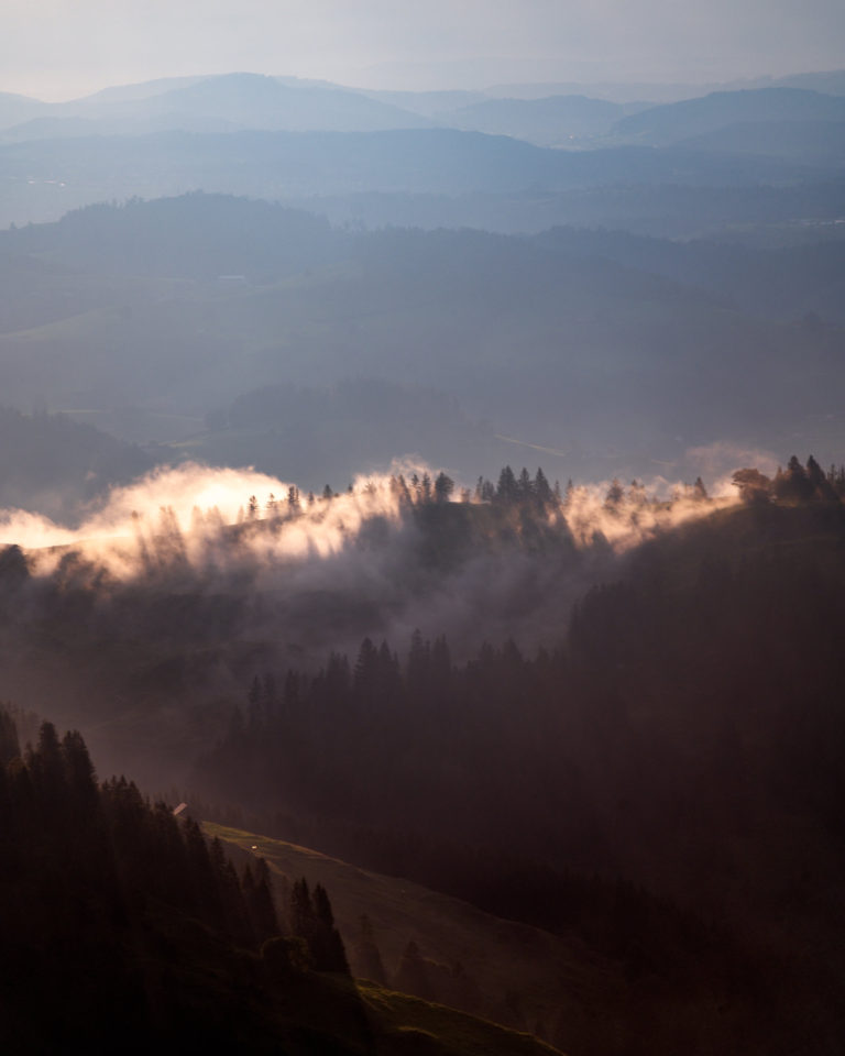 Sunset view from Ebenalp mountain in Switzerland