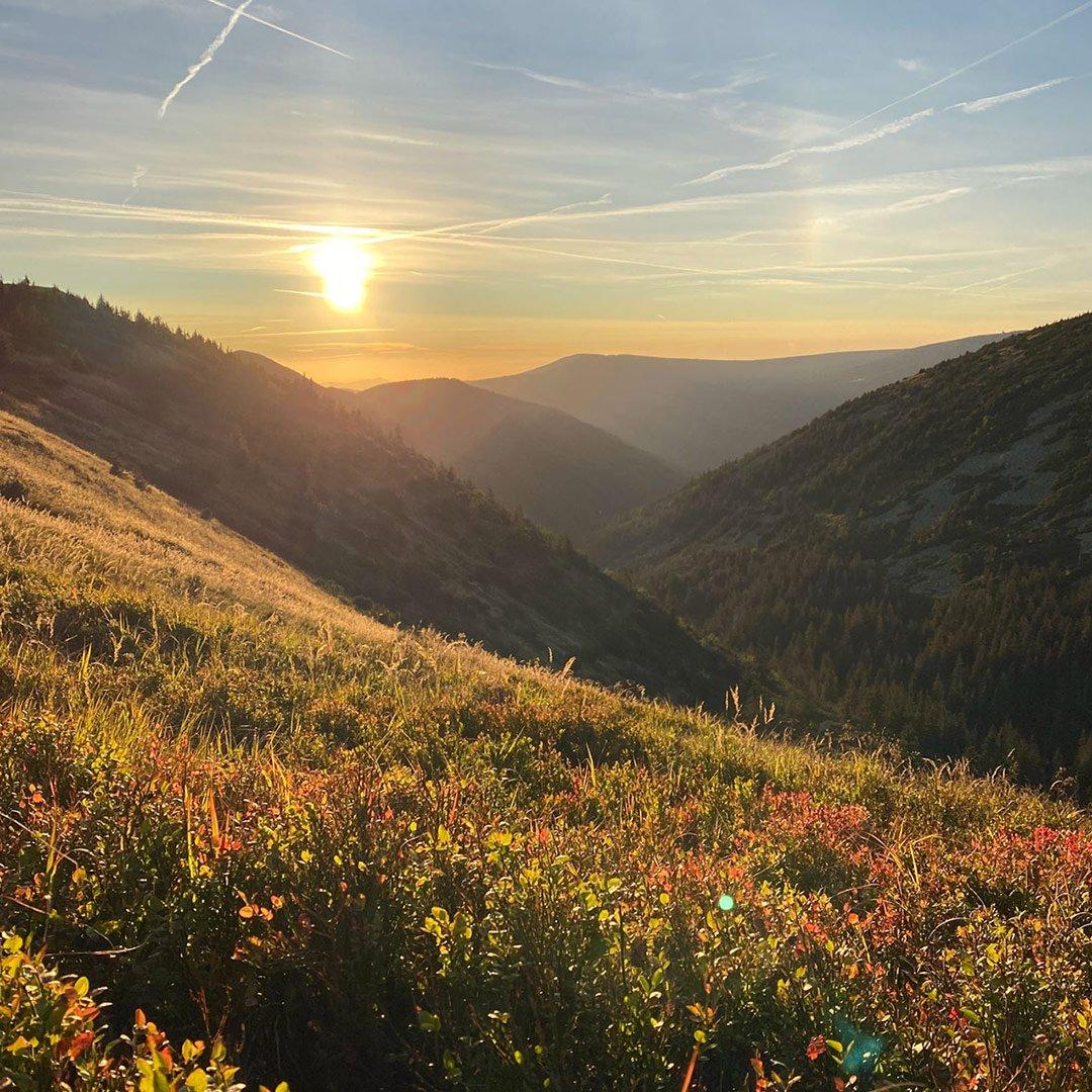 Landscape shot of Krkonoše mountain range shot on iPhone